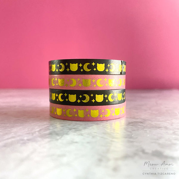 Cats and Moon Gold Foil Washi Tape 7.5mm