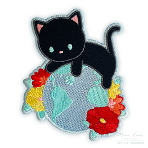 Earth Cat Black Iron-On Patch