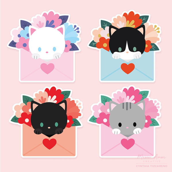 Cat Mail Vinyl Stickers