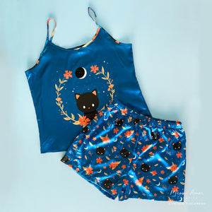 Blue Midnight Cat PJ Set