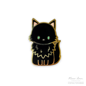 Midnight the Maine Coon Cat Enamel Pin