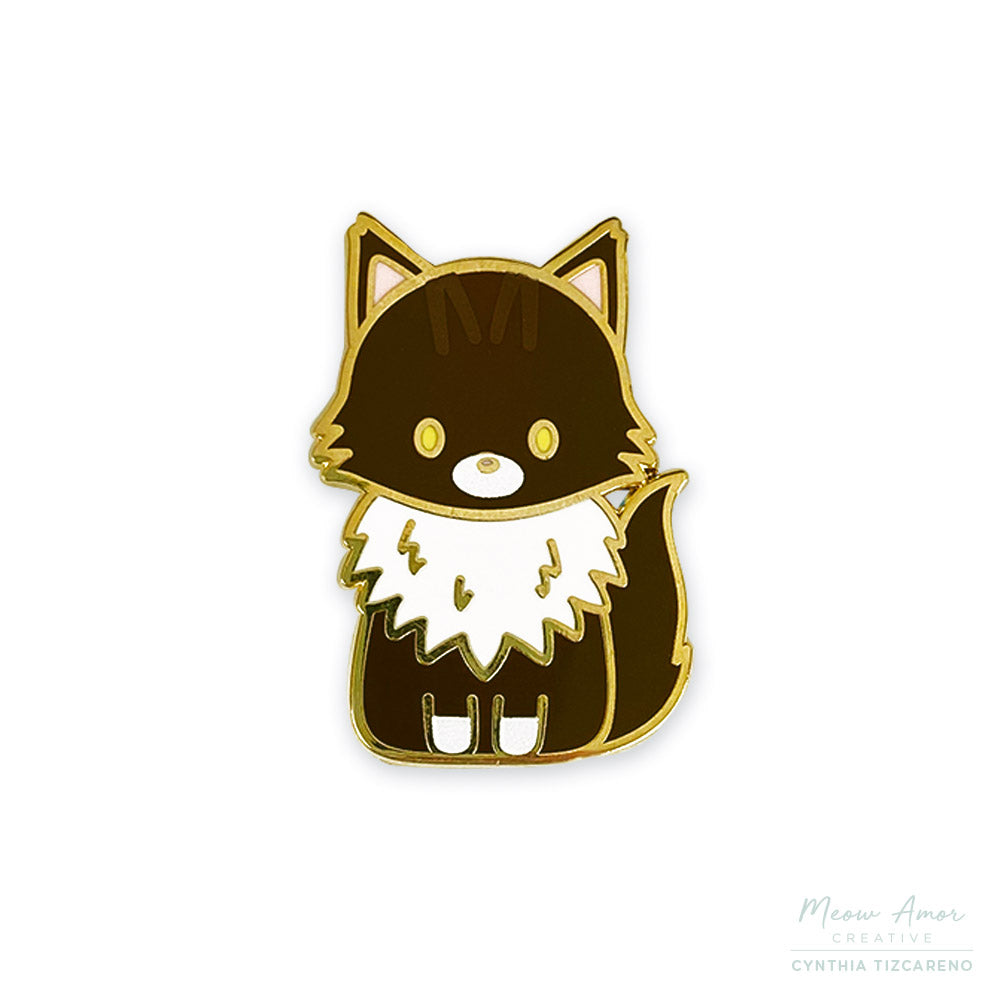 Mocha the Maine Coon Cat Enamel Pin