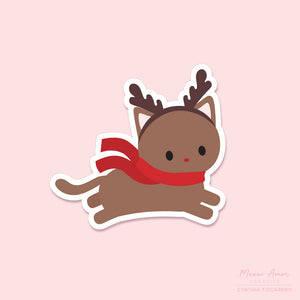 Reindeer Cat Vinyl Sticker
