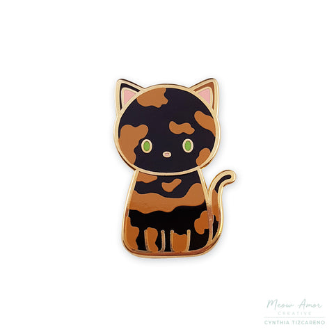 Tortie Cat Enamel Pin