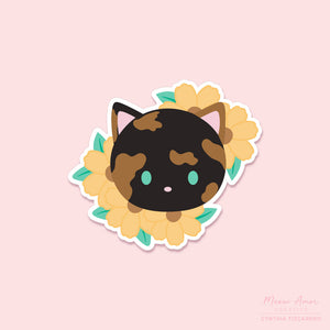 Flower Tortie Vinyl Sticker