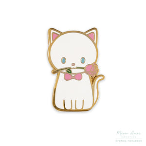 White Romantic Cat Enamel Pin