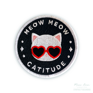 White Cat Catitude Iron-On Patch