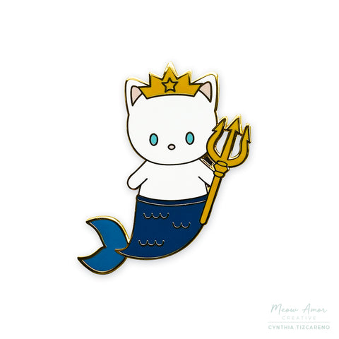 White Purrmaid King Enamel Pin