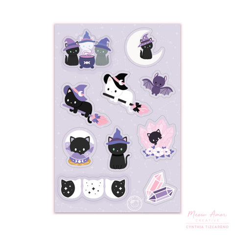 Witch Cats Sticker Sheet