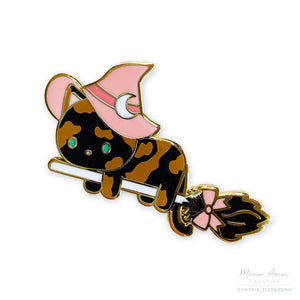 Witch Cat Tortie Enamel Pin