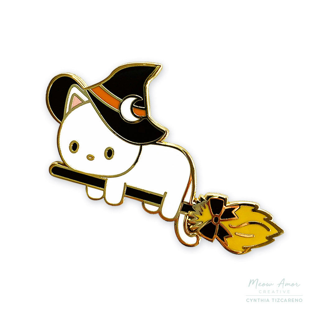 Witch Cat White Enamel Pin