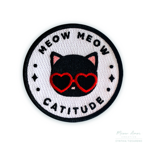 Black Cat Catitude Iron-On Patch