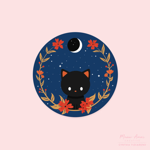 Midnight Cat Vinyl Sticker
