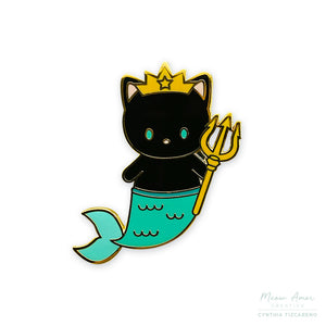 Black Purrmaid King Enamel Pin
