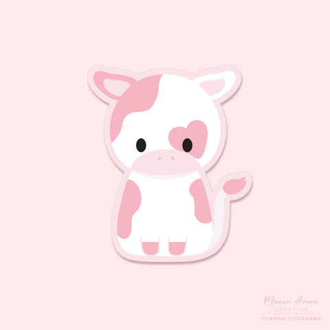 Pink Cow Vinyl Sticker