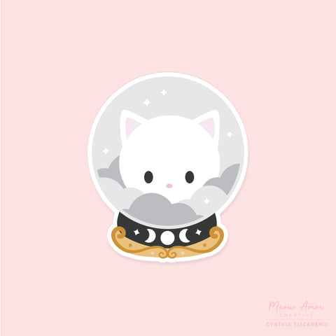 White Crystal Ball Cat Vinyl Sticker