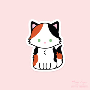 Fluffy Calico Cat Vinyl Sticker