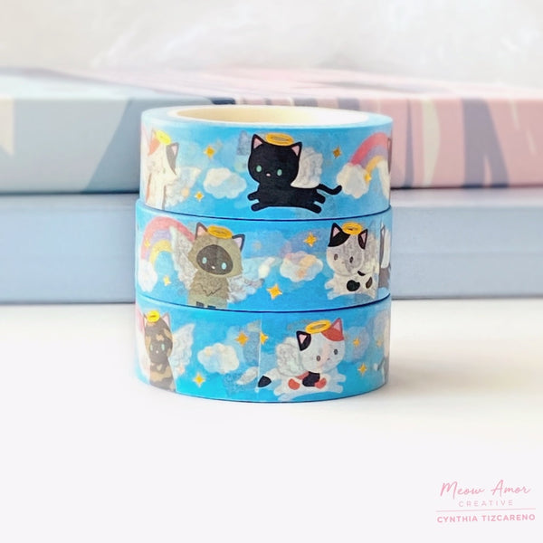Angel Cats Gold Foil Washi Tape
