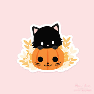 Pumpkin Cat Vinyl Sticker