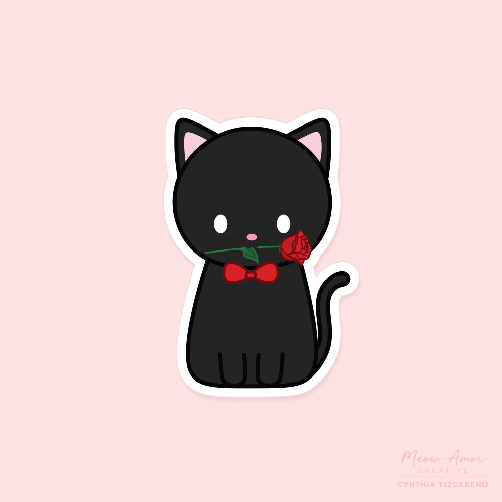 Romantic Cat Vinyl Sticker
