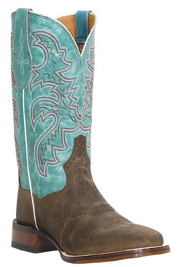 CLOSEOUT-Dan Post Womens DP2863 San Michelle Sand And Teal Leather Boots