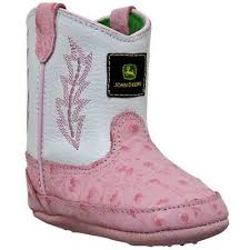 John Deere Johnny Poppers Girls White And Pink Ostrich Print Crib Boots  JD0171