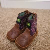 John Deere Johnny Poppers Girls Brown And Purple Crib Boots  JD0328