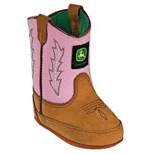 John Deere Johnny Poppers Girls Tan And Pink Crib Boots  JD0185