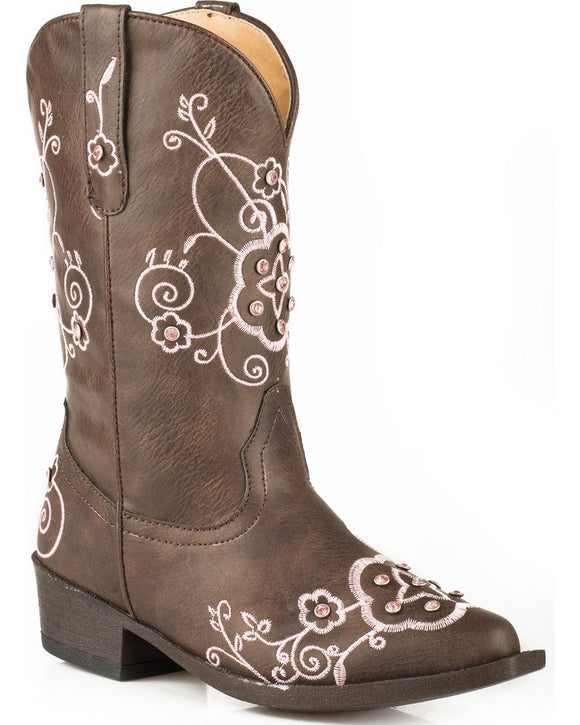 Roper Girls Youth Flower Sparkles Western Boots  09-018-1556-1139