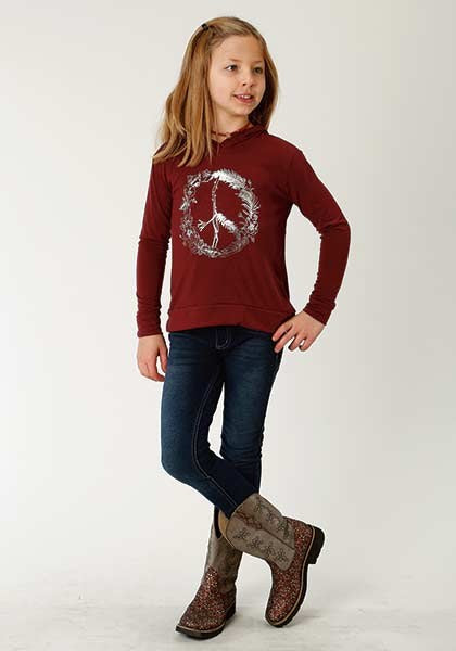 Roper Girls Hooded Tee Wine  309-513-0678WI