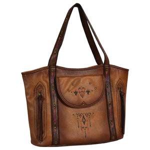Trenditions Catchfly Addison Tote Cognac w/Embroidery  CC