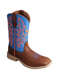 Twisted X Kids Hooey Boot (Cognac Shoulder/Neon Blue)  CHY0001 / YHY0001