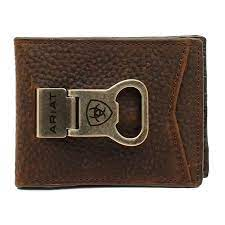 Ariat Mens Bi-fold Money Clip Style Wallet, Brown Rowdy Color  A35119282