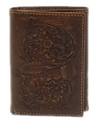 Ariat Mens Trifold Floral Embossed Brown Wallet   A3527802