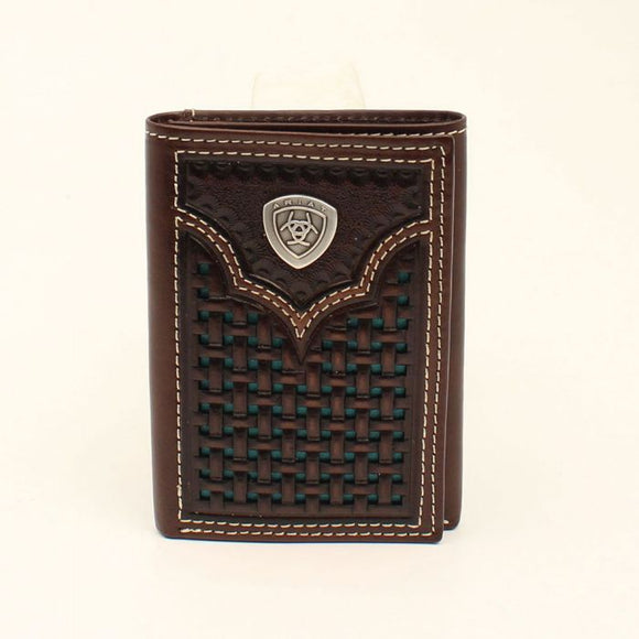 Ariat Mens Brown Tri-fold Embossed Mens Wallet- A3540633