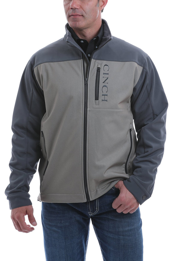 Cinch Mens Color Blocked Printed Bonded Jacket - Stone/Blue  MWJ1518002