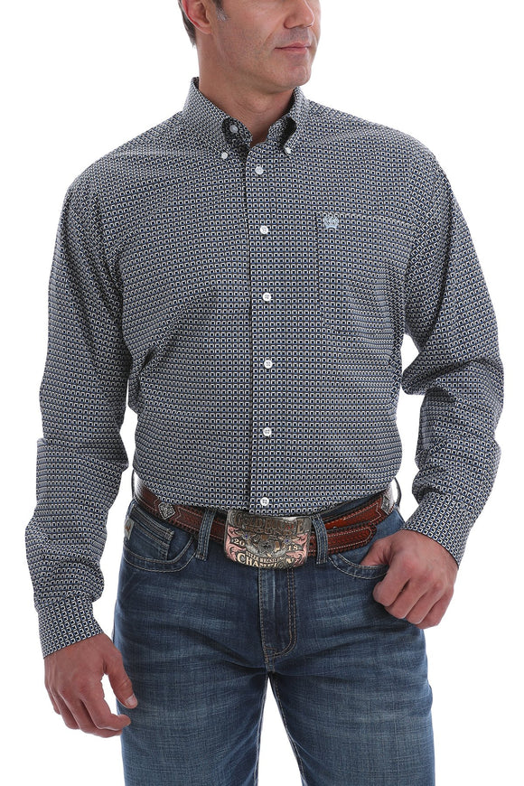 Cinch Mens Blue, White And Brown Geometric Print Button-Down Shirt  MTW1105096