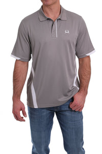 Cinch Mens Arena Flex Polo Grey and White Color Block  MTK1864001