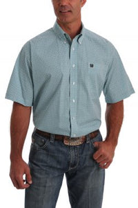 Mens Cinch Short Sleeve Turquoise And White Print Shirt  MTW1111341