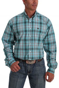 Cinch Mens Turquoise And Grey Ombre Plaid LS Buttondown  MTW1105028