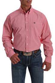 Cinch Mens Coral And White Micro-Geometric Print Shirt  MTW1105054