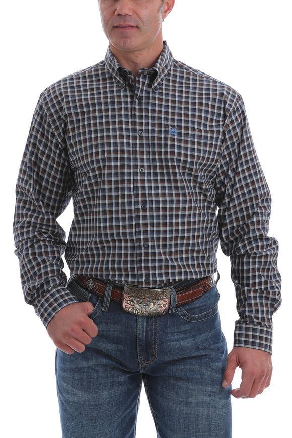 Cinch Mens Navy, White And Brown Plaid Button-Down Western Shirt  MTW1105087