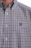 Cinch Mens Short Sleeve Navy, Peach And White Plaid Button-Down Shirt  MTW1111327