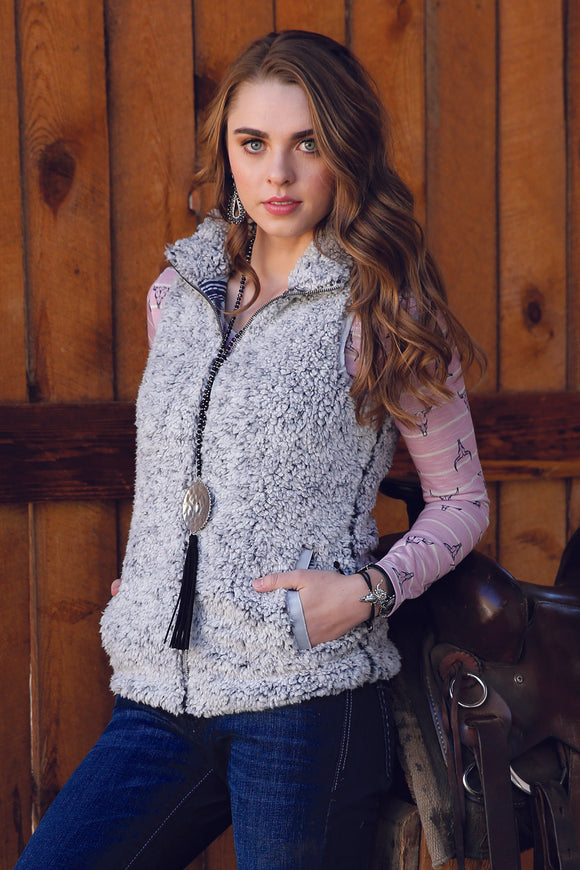 Cruel Womans Sherpa Fleece Vest - Gray CWV7241001