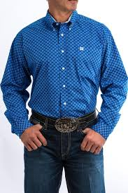 Cinch Mens Royal And White Geometric Print Western Shirt  MTW1104690