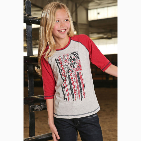 Cruel Girl Girls Red and White Aztec Baseball Tee  CTK3530010 RED