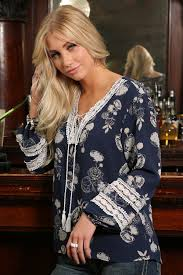 Cruel Womens Navy Floral Printed Blouse With Crochet Trim   CTW7200001 NAV