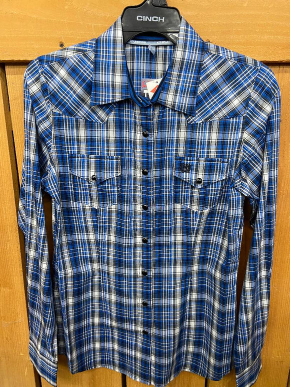 Cinch Womens Blue Plaid Button Up Shirt  MSW9200010-MUL