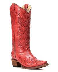 Corral Womens Red Leather And Embroidery Boots    L5129