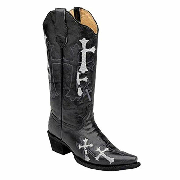 CLOSEOUT-Circle G Womens Black Side Cross Embroidery Western Boots L5062